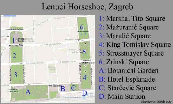 Map of Lenuci Horseshoe, Zagreb