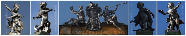 Stautes of Musicians atop Croatian National Theatre, Zagreb