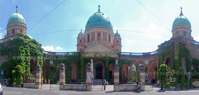 The grand entrance of Mirogoj Cemetery, Zagreb, Croatia