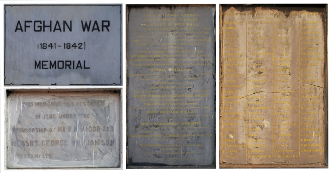 Afghan War Memorial Plaques (Top Left: Plaque at the entrance, Bottom Left: Restoration Info, Centre: Names of Commissioned Officers, Right: Names of non - commissioned officers)