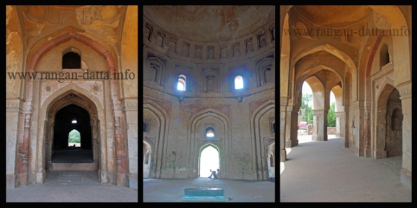 Adam Khan's Tomb (L: Arches leading inside the tomb, M: Interiors of the tomb, R: Labyrinth of Passageways)