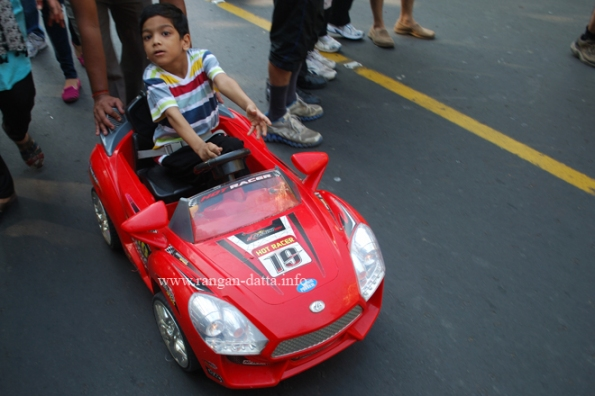In spite of heavy police presence a car did sneak in, Happy Street, Kolkata