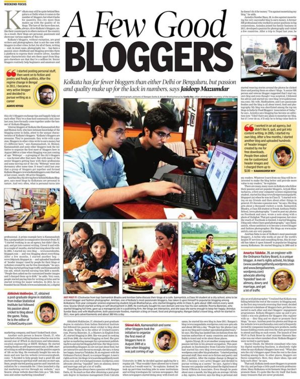 A Few Good Bloggers, Jaideep Mazumdar, The Times of India, 7 March 2015