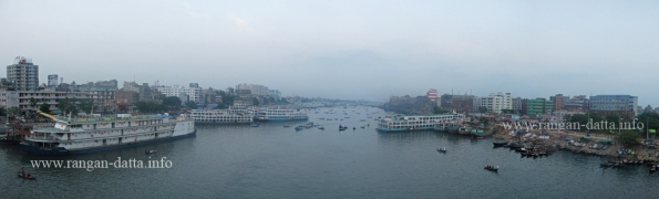 Panoramic view of Buriganga River from the bridge, Old Dhaka, Bangladesh
