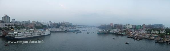 Panoramic view of Buriganga River from the bridge, Old Dhaka, Bangladesh