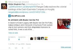 Screen shot of retweet from William Dalrymple