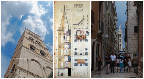L: Bell Tower, Zadar, C: Sectional digram of the Bell Tower, R: Narrow lane leading to the Bell Tower
