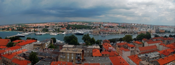 Panoramic view of Zadar Harbour, from the Bell Tower of St. Anastasia's Cathedral