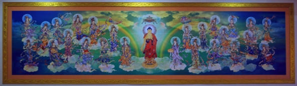 Painting at Fo Guang Shan Buddhist Temple, Tangra, New Chinatown, Kolkata