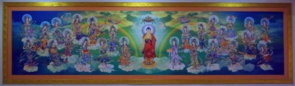 Painting at Fo Guang Shan Buddhist Temple, Tangra, New Chinatown, Kolkata