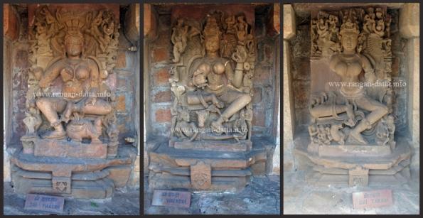 Collage of Yogin Statues (L: Thakini, M: Virendri, R: Takari)