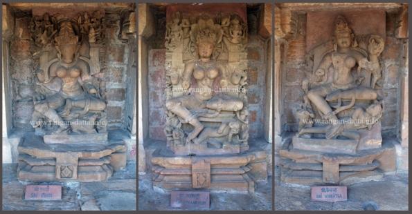 Collage of Yogini Statues (L: Erudi, M: Phanendri, R: Vibhatsa)