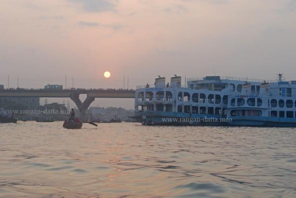 Sunset, Buriganga River, Sadarghat, Dhaka, Bangladesh