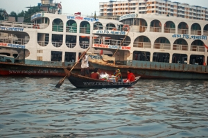 A country boat with ships in background, Buriganga, Dhaka