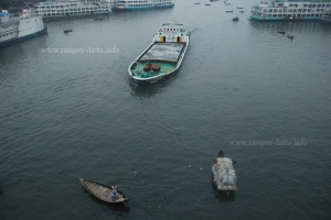 Ship and small boat, coexisting in Buriganga