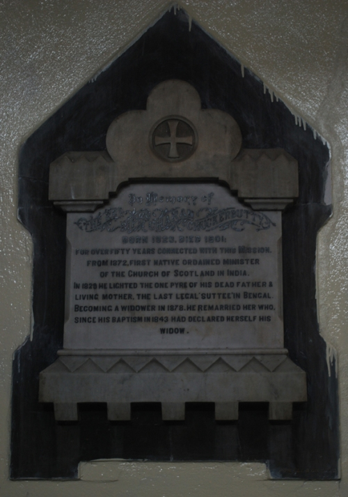 Plaque in memory of The Rev. Bipro Charan Chuckerbutty