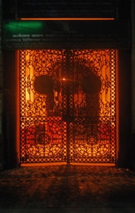 Illuminated gate of Treasury Building, Ghost Walk, Calcutta