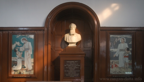 Marble platform with the bust of Alexander Duff. Assembly Hall, Scottish Church College