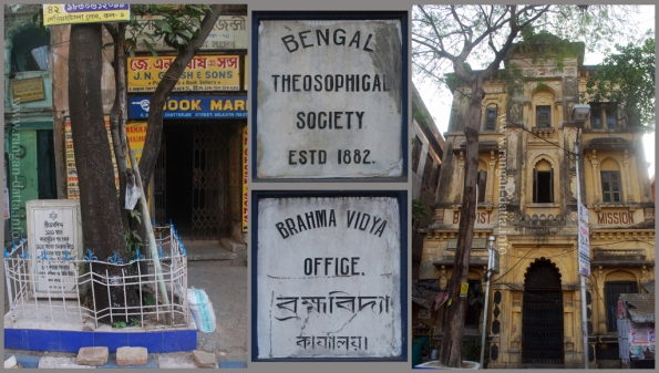 L: Aurobindo's House C: Plaques of Theosophical Society R: Baptist Mission
