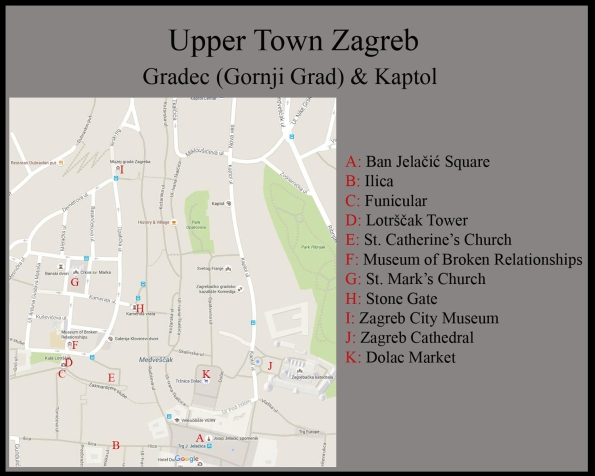 Map of Zagreb Upper Town (Gronji Grad)