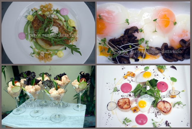 Clockwise from top left: Mille Feuille Granny Smith, Egg with Button Mushroom, Prawn Cocktail and Scallops with Quil Egg