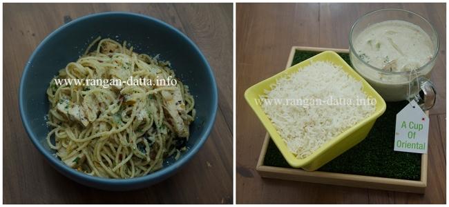Hopipolla Main Course. L: Spaghetti Aglio Alio, R: Cup of Oriental