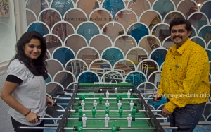 Soumita and Rajdeep try out a game of Table Football