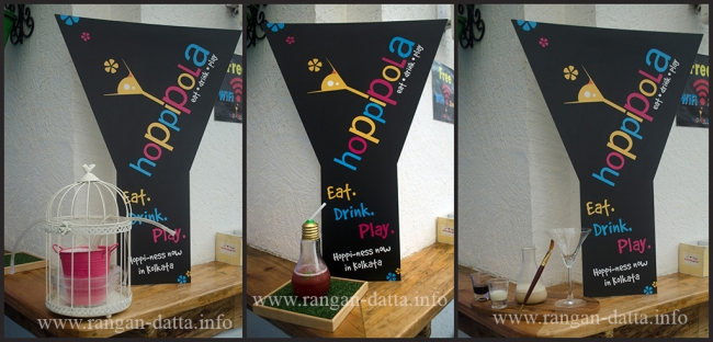 Cocktails from Hoppipola. L: Bird Cage, M: IQ, R: Da Vinici Tini