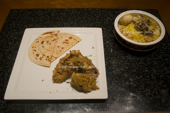 Star attraction of the Metiabruz Dawat at ITC Sonar, Kolkata, Mughlai Parantha with Chicken Chap and Mutton Biryani