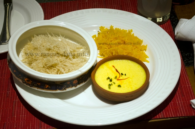 Desserts at Metibruz Dawat, ITC Sonar, Kolkata. Clockwise from left: Lachchha, Zarda Pulao and Frini