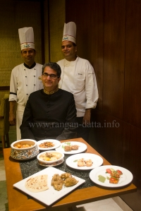 Shanshah Mirza flanked by Sous Chef Gaurav Lavania (R) and Chef Manzoor Alam (L)