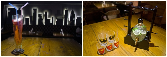 Beverages at Wall Street Bar (WSB). L: Wall Street Special, R: Gandhoraj Basil Mojito[/caption