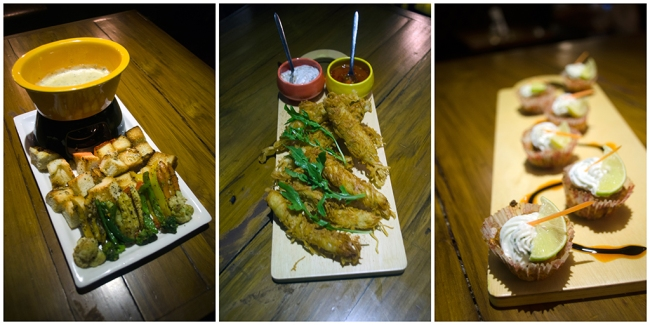 Finger Food at Wall Street Bar (WSB). L: Cheese Fondue, C: Ginger Chicken Strips, R: Bhetki Cup Cake[/caption