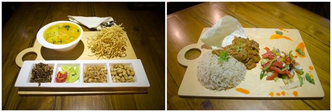 Main course at Wall Street Bar (WSB). L: Khow Suey, R: Bhuna Masala Chicken Wing with Burnt Garlic Rice[/caption