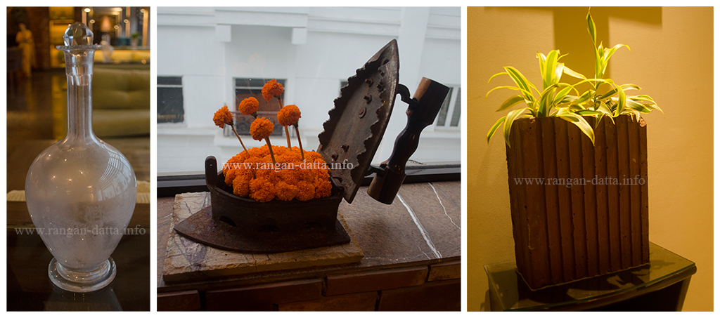 Adoptive Reuse. L: Wine Goblet, C: Iron turned into Flower Pot, R: Bread Mould turned into Flower Pot