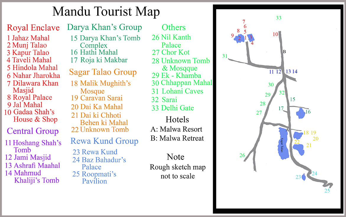 Mandu Tourist Map (Click to enlarge)