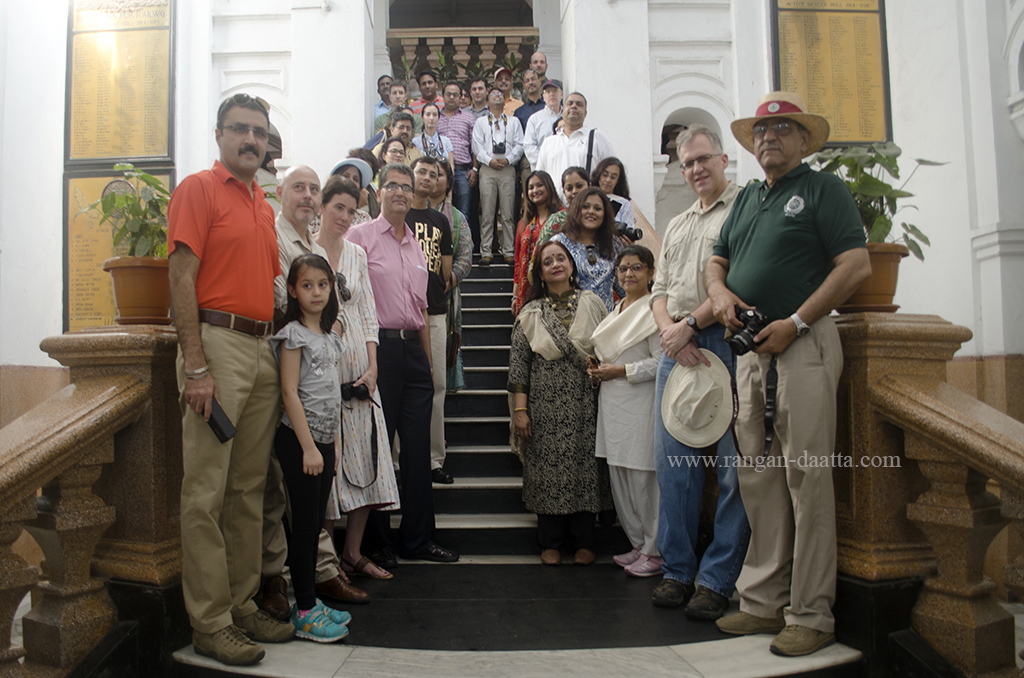 Group shot at the grand staircase of the Bengal Nagpur Railway (BNR) Office, headquarters of South Eastern Railway (SER), Garden Reach, Kolkata