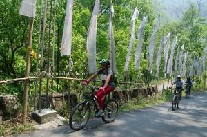 Mountain Bikers along Sikkim's Silk Roite