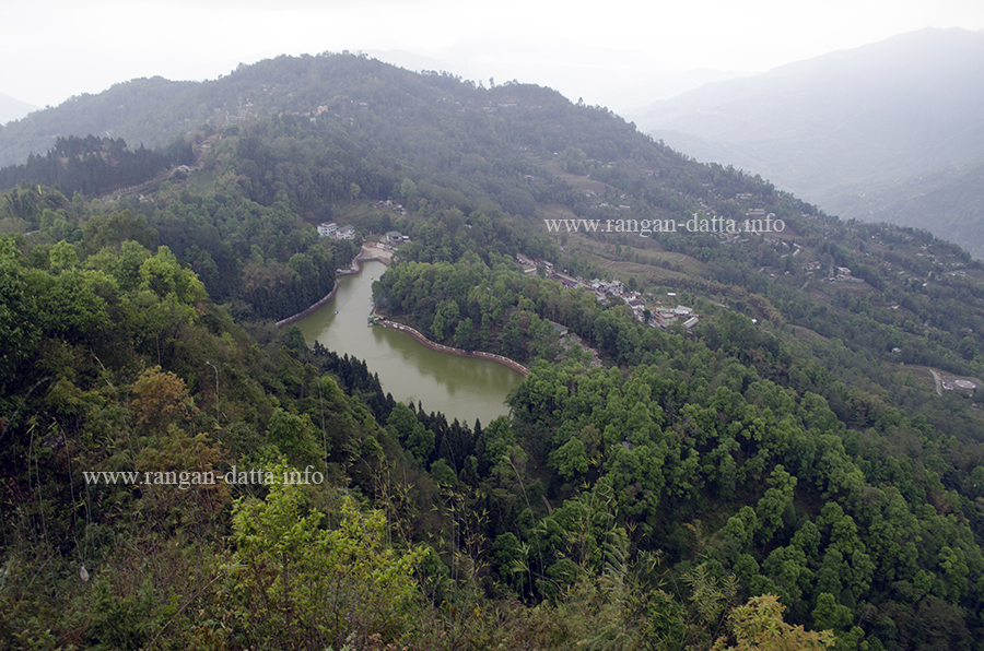 Bird's Eye view of Lampokhari Lake, from Mankhim, East Sikkim, Sikkim