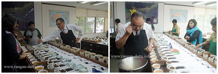 L: Binod Gurung feeling the tea granules, R: Siddhartha Chatterjee, sipping the tea