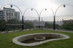 A garden with a fountain, terrace of Goodricke Office, Kolkata