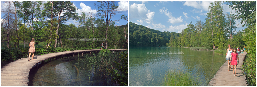 Tourist takes the wooden trails, Upper lakes, Plitvice Lakes National Park, Croatia