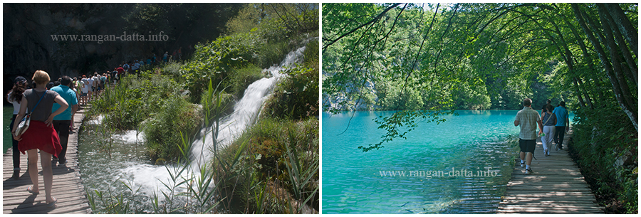 Tourist take the wooden trails, Lower Lakes, Plitvice Lakes National Park, Croatia