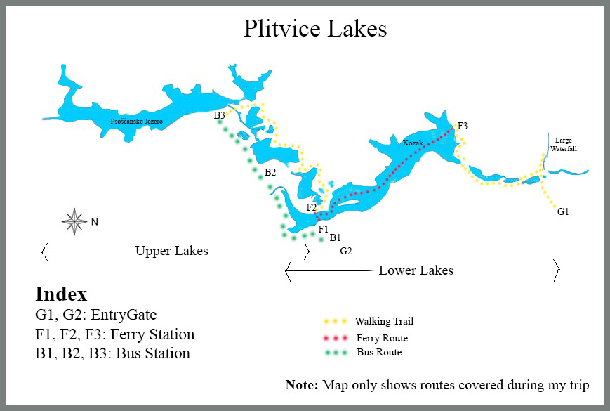 Plitvice Lakes Map (Click to enlarge)