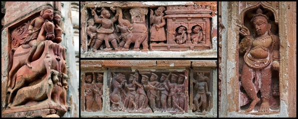 Collage of terracotta panels from Krishan Chandraji Temple, Rajbari Complex, Ambika Kalna