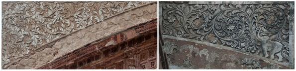 Limestone stucco work. Krishna Chandraji Temple (L) & Lalji Temple (R)