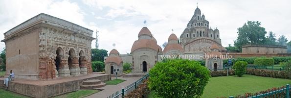 Rajbari Complex, Ambika Kalna, with Flat Roofed Structure, Pancharatna Temples and Krishna Chandraji Temple