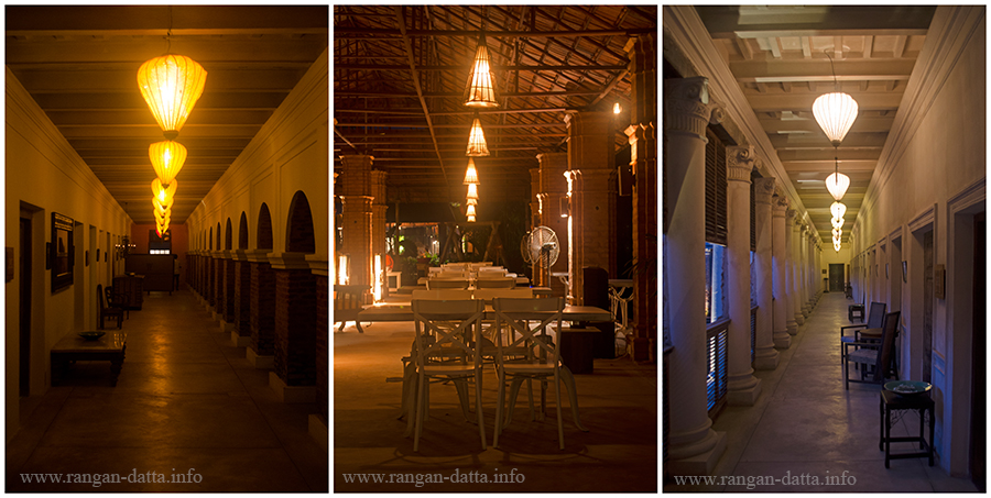 L: Ground floor corridor, C: Lotus Pavilion, dinning area, R: First floor corridor, The Rajbari Bawali