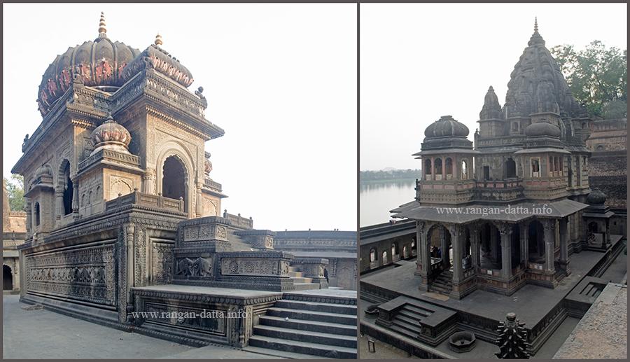 L: Cenotaph of Vitoji Rao, R: Cenotaph of Ahilya Bai, Cenootaph Complex, Maheshwar Fort, Maheshwar, Madhya Pradesh (MP)