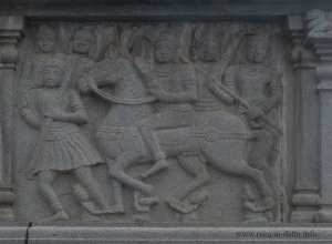 Prince Siddhartha, leaves his family on a horse back, pedestal of Monolithic Buddha Statue